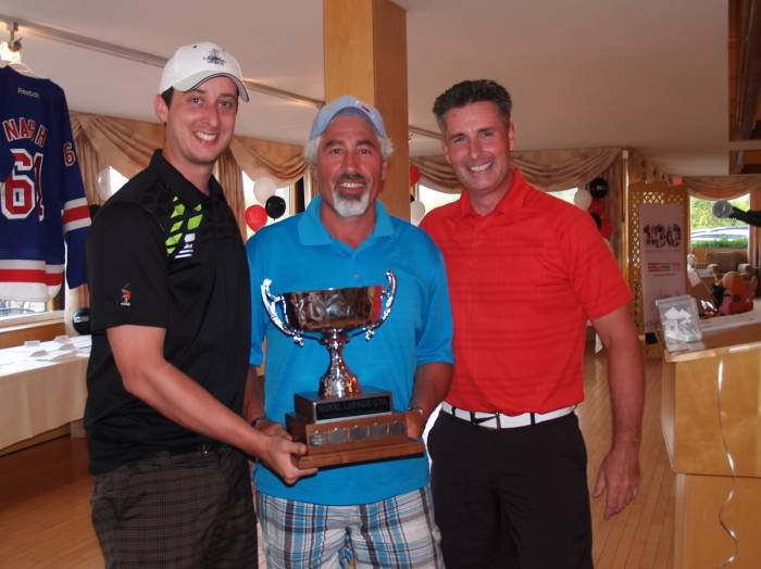 """Winners of the Royal LePage Real Estate Services Ltd. West Toronto Offices """"Travelling Trophy,"""" L-R: brokers Alun Evans (Royal LePage Real Estate Services Ltd.), Mario Hermenegildo (Royal LePage Vendex Realty) and Michael Stothers (Royal LePage Real Estate Services Ltd.)"""
