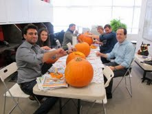 Most in this pic had never before carved a pumpkin!