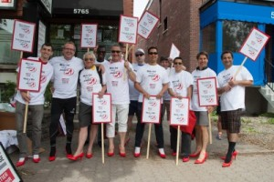 Walk a Mile in Her Shoes® participants from L to R: Erin Montgomery, Sean Murphy (sales representative, Royal LePage Ville-Marie), Normand Deshaies (sales representative, Royal LePage Ville-Marie), Mohamed Maïga (mortgage specialist, National Bank), Georges Gaucher (broker/owner, Royal LePage Ville-Marie), Christophe Larouche (branch manager, RBC), Erik Hamon (sales representative, Royal LePage Ville-Marie), Demetri Marinakis (broker, Royal LePage Ville-Marie), Samuel Sun (mortgage broker, Desjardins), David Tardif (sales representative, Royal LePage Ville-Marie), and Nasr Abou Nasr (Royal LePage Ville-Marie).