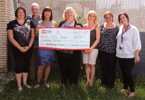 Pictured left to right: Royal LePage True North Realty Associate Broker Jill Kerrigan; Tim O'Rourke, Director of Fund Development for FMFCS; Marian Barry, Broker/Owner of Royal LePage True North Realty; Michele Taylor, Executive Director of FMFCS; Cindy Scantland and Alejandra Carroll,  REALTORS® at Royal LePage True North Realty; Jenna Longaphie, Community Awareness & Special Events Coordinator of FMFCS.