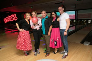 Bowlers from Royal LePage Community Realty, from L to R: broker/owner Vivian Risi, manager Michelle Risi, Jim Anagnostopoulos, Lisa Risi and manager Justin Risi