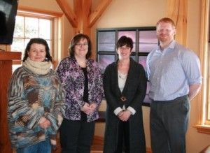 Royal LePage Lakes of Muskoka Booster Night committee members, L-R: Rachelle Walker, Executive Director of Muskoka Women's Advocacy Group ; Michelle Chesseman, Client Care Royal LePage Lakes of Muskoka, Bracebridge; Wendy Webb, Chair of Booster Committee; Phil Hemens, Boston Pizza Bracebridge. Missing from photo are: Shelley Reville, Sherry Rondeau, Val Schrauwen, Joan Ricard all from Royal LePage Lakes of Muskoka; Jenny Cressman, Public Relations (MWAG); Stephanie Foulkes, Metroland Media.