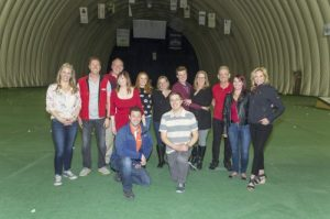 Organizers of the 9th Annual Golf Skills Challenge hosted by Royal LePage Solutions and Royal LePage Benchmark in Calgary, AB. Front row: Ben Ginzberg and Marc Anderson. Back row: Shayne Pardee, Josh Nelson, Cheri Long, Andrew Hanney, Madison Jager, Sharon Abrahamson, Alexander Bradley, Dorothy Burnett, Rob Smith, Erin Pierce and Corinne Lyall.