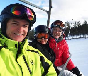 Enjoying the slopes during Royal LePage Locations North's ski day are (l-r) Phil Soper, president and CEO at Royal LePage, Kiki Sauriol-Roode from Genworth Canada and JoAnn Landry from Royal LePage Burloak Real Estate Services.