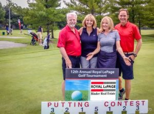 Golfers at the Royal LePage Binder Real Estate Golf Tournament, from L to R: manager Fred Shaw, sales representatives Fran Grebenc and Beth Rezoski, and Royal LePage CEO Phil Soper.