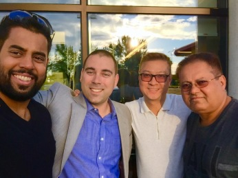 From left to right: Mr. Shashi Gandhy, Mr. Jérôme Walsh, mortgage representative, National Bank, Mr. Bernard Chan, real estate broker, Royal LePage Champlain and Mr. Jayeshkumar Gandhy.