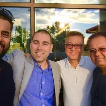 From left to right: Mr. Shashi Gandhy, Mr. Jérôme Walsh, mortgage representative, National Bank, Mr. Bernard Chan, real estate broker, Royal LePage Champlain and Mr. Jayeshkumar Gandhy.