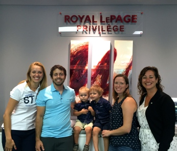 From left to right: Ms. Roxanne Jodoin, real estate broker, Royal LePage Privilège, Mr. François Paradis, Maverick Paradis and Loïk Paradis, Ms. Jaana Merivirta, as well as Ms. Marie-Josée-Bérubé, mortgage representative, Desjardins.