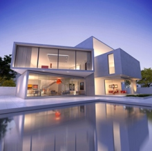 External view of a contemporary house with pool at dusk