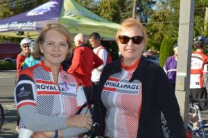Royal LePage In the Comox Valley sales associates Barbara Magnusson and Carla Arnold participate in the Royal LePage Petite Fondo in support of the Royal LePage Shelter Foundation
