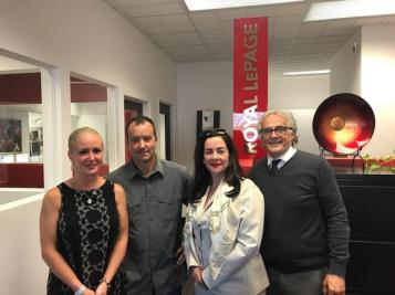 From left to right: Suzie Richer (Desjardins), Michel Carrier and Christiane Carrier (finalists) and Richard Fortin (Royal LePage Inter-Québec)